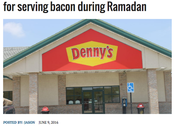 Denny's waitress assaulted by Muslims for serving bacon during Ramadan